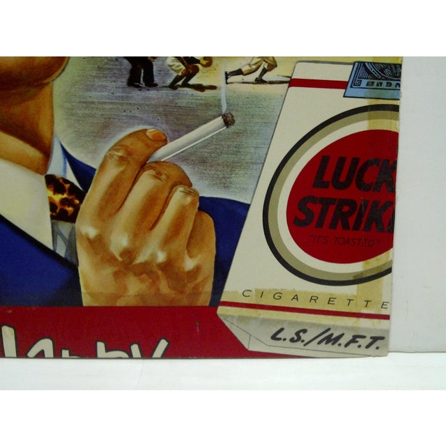 """Vintage Cardboard """"Lucky Strikes Cigarettes"""" Advertising Sign, 1940 For Sale In Pittsburgh - Image 6 of 7"""