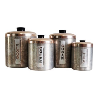 1950s Vintage Aluminum and Copper Canister Set- 4 Pieces For Sale