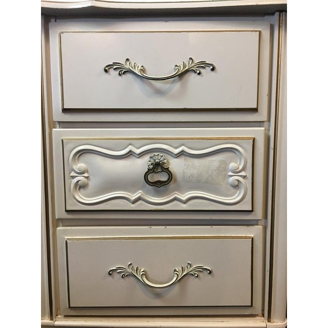 Vintage Shabby Chic White & Gold Hand Painted Wood Desk For Sale In San Francisco - Image 6 of 6