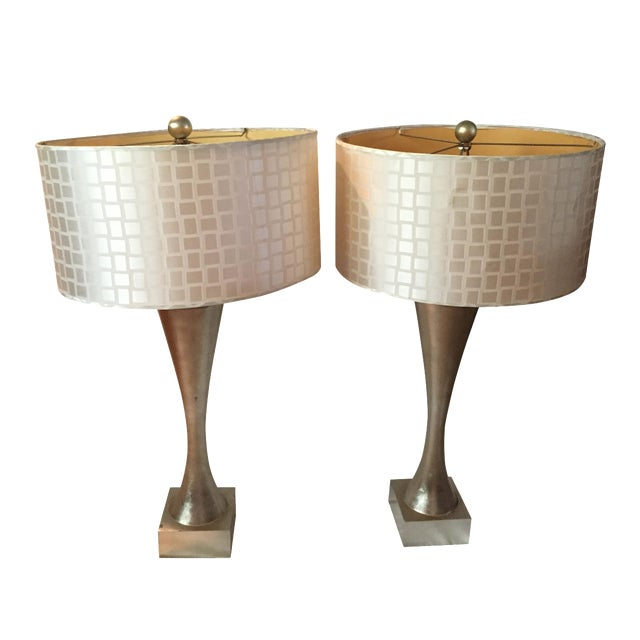 Mid-Century Gold Leaf Design Table Lamps - Pair - Image 1 of 6