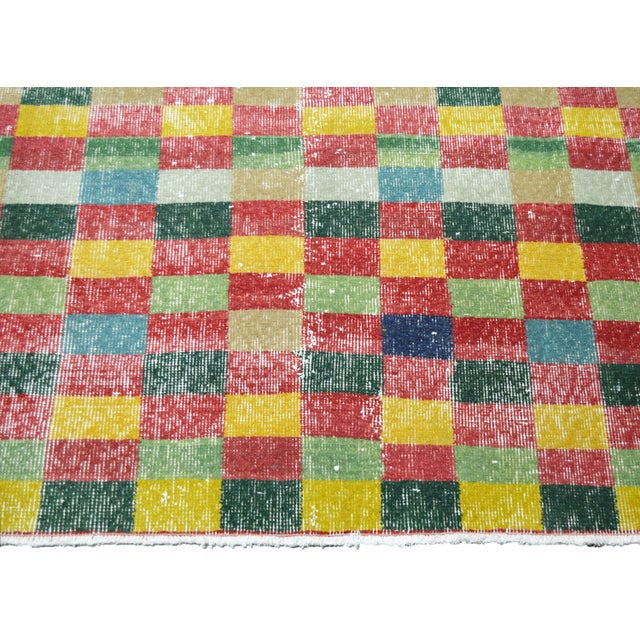 """Vintage Turkish Anatolian Art Deco Hand Knotted Organic Wool Fine Weave Rug,7'1""""x10'7"""" For Sale - Image 4 of 7"""