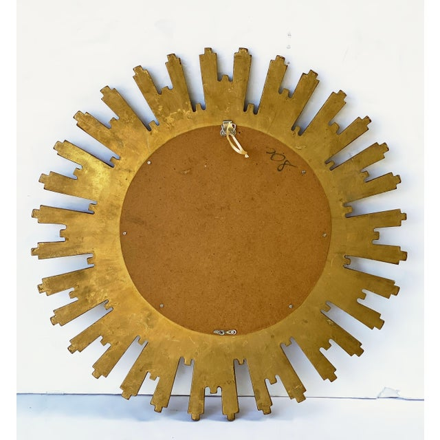 French Starburst or Sunburst Convex Mirror with Gilt Cast Frame For Sale In Austin - Image 6 of 13