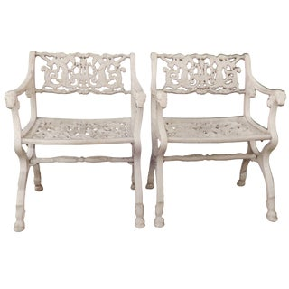 Vintage Schinkel Style Garden Chairs With Angels For Sale