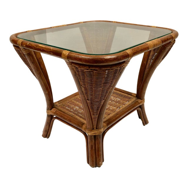 1940s Rattan and Wicker Side Table For Sale
