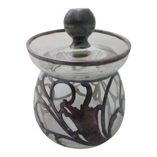 Antique Sterling Overlay Sugar Bowl