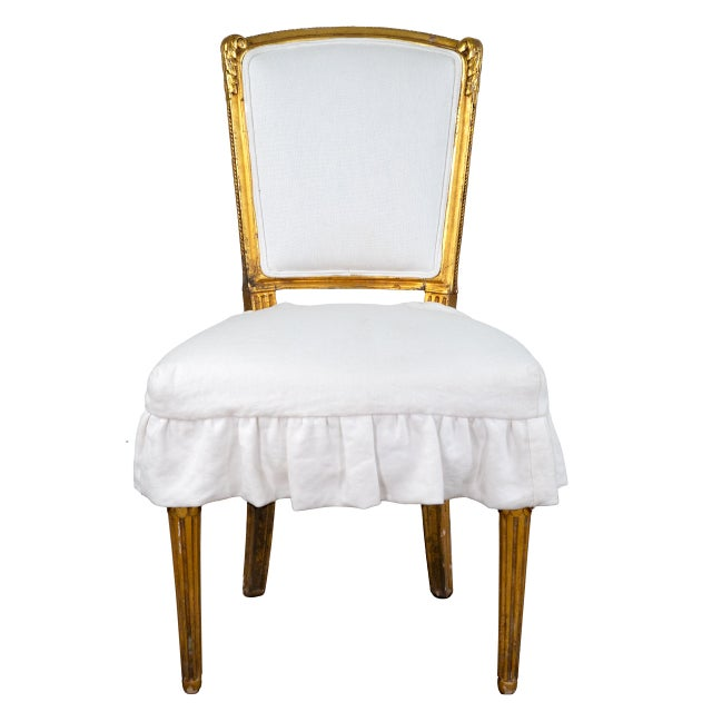 Antique French Louis XV Style Gilded Accent Chairs- a Pair For Sale - Image 4 of 7
