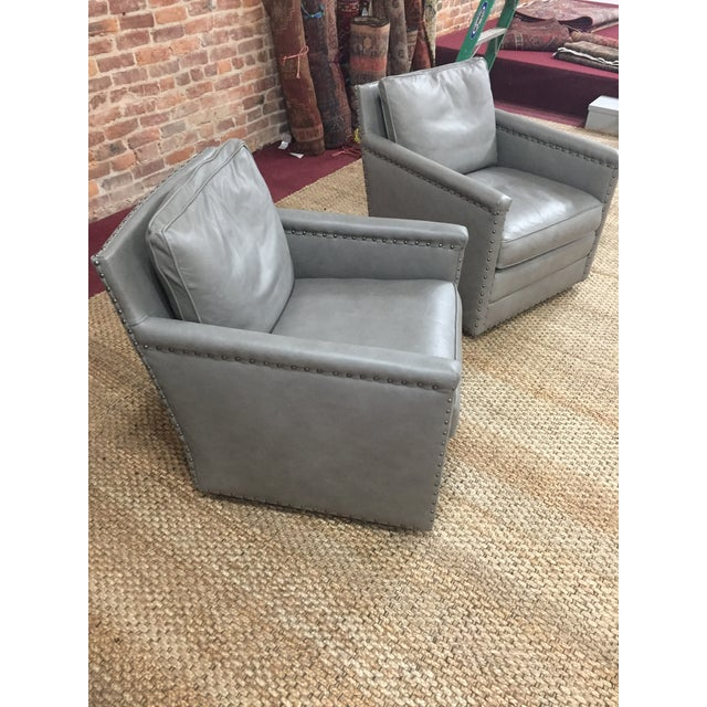 Modern Lee Industries Leather Club Swivel Chair- A Pair For Sale - Image 12 of 13