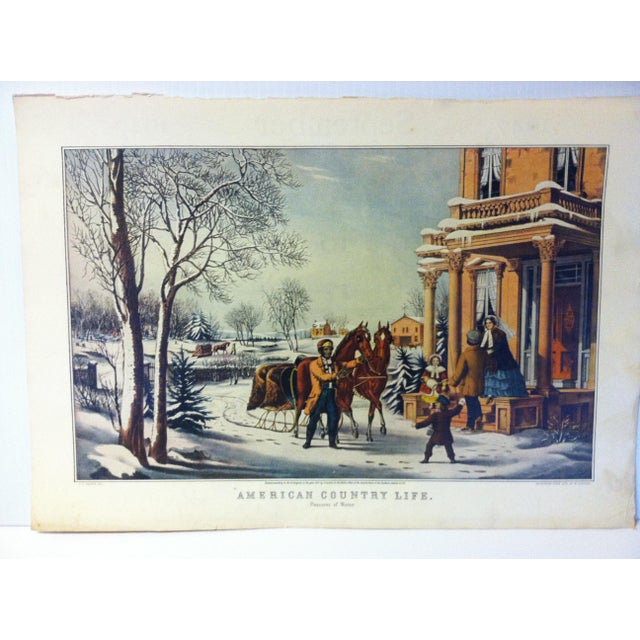 """This is a reproduction of a Currier & Ives color print that is titled """"American Country Life - Pleasures of Winter"""". The..."""