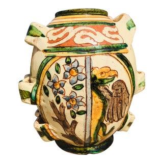 1920s Italian Hand Painted Terra Cotta Vessel For Sale