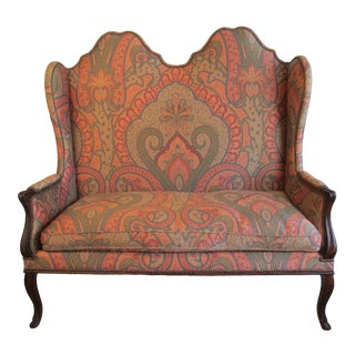 Antique High Back French Style Settee For Sale