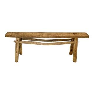 Antique Rustic Long Elm Bench For Sale