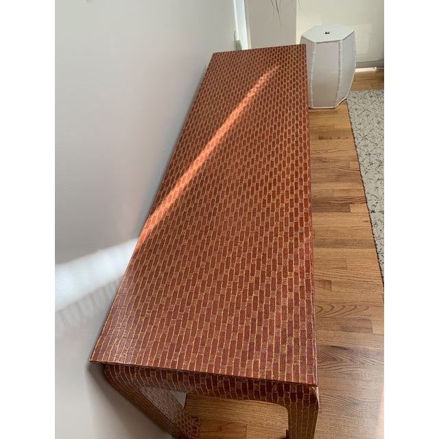1970s 1970s Asian Style Baker Lacquered Grasscloth Console Table For Sale - Image 5 of 13