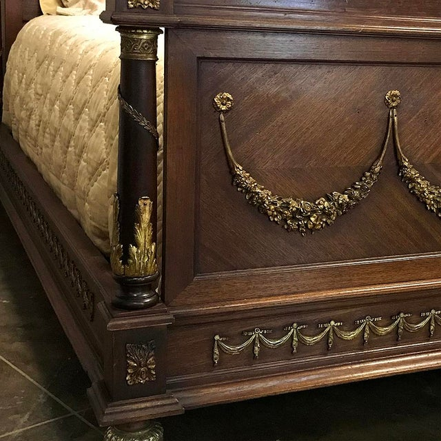 Gold 19th Century French Louis XVI Queen Bed With Ormolu For Sale - Image 8 of 13