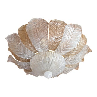 Mid Century Modern Leaf Murano Glass Flush Mount Light by Barovier 1960- 2 Available For Sale