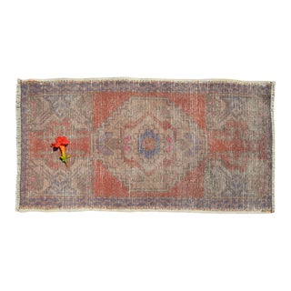 """Hand Knotted Small Oushak Rug Faded Mini Rug Mat - 1'8"""" X 3'1"""" For Sale"""