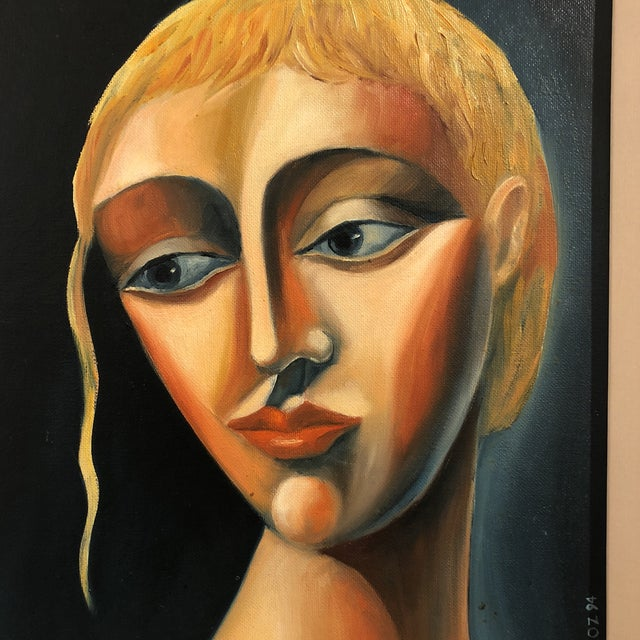 "This is a stunning portrait of a young woman, circa 1970. The piece is rendered in oil on board, by artist ""Yuroz""."