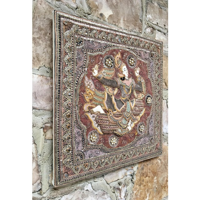 Vintage Burmese Kalaga tapestry of a dancer is padded & textured with embroidered stones, sequins, intricate colored...