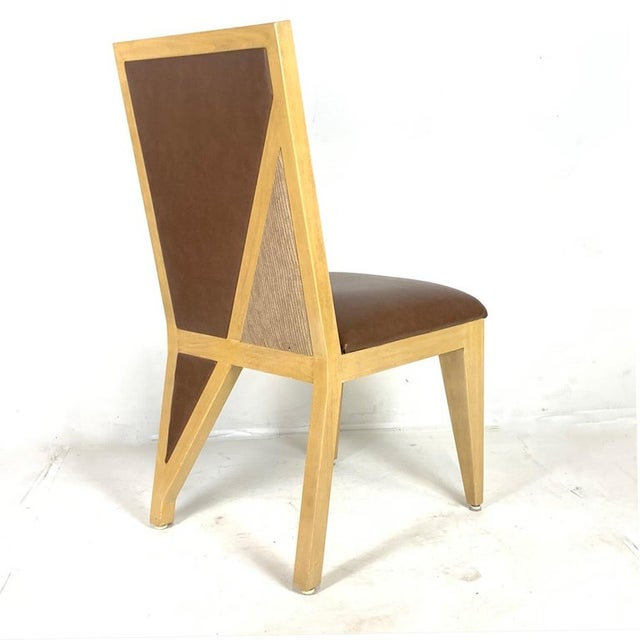Mid 20th Century Custom Postmodern Memphis Style Blonde Wood Dining or Occasional Chairs - Set of 10 For Sale - Image 5 of 12