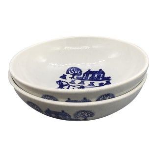 Metlox Poppytrail's Provincial Blue Large Salad Serving Bowls - a Pair For Sale