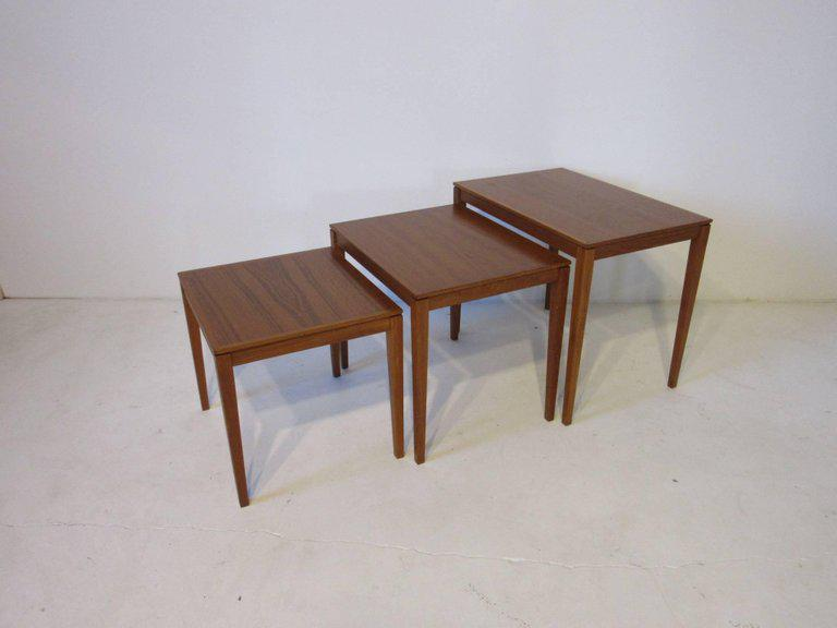 Danish Teak Wood Nesting Tables By Bent Silberg Mobler   Image 5 Of 6
