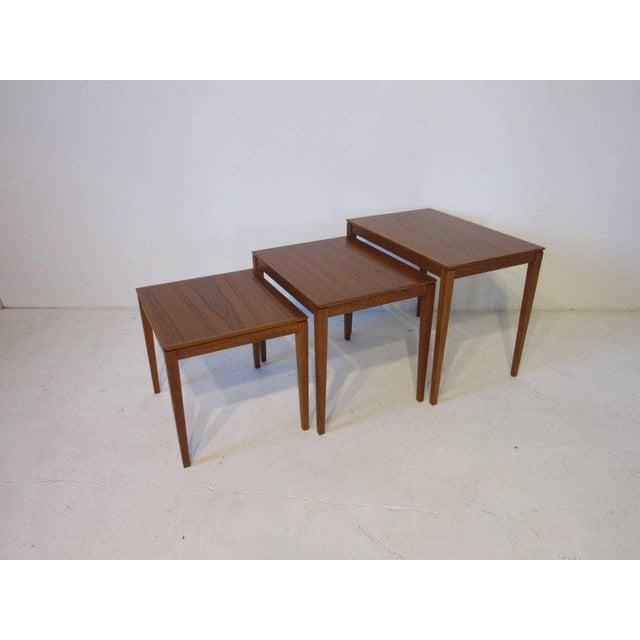 1950s Danish Teak Wood Nesting Tables by Bent Silberg Mobler - set of 3 For Sale - Image 5 of 6