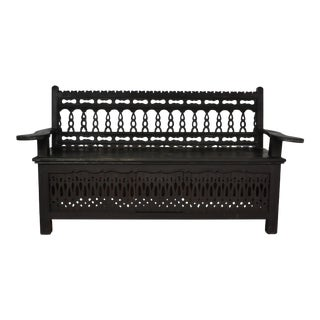 Antique Rustic Black Fretwork Bench For Sale