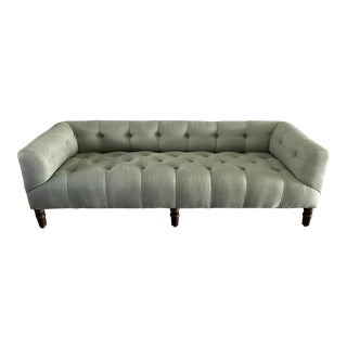 Custom Light Blue Tufted Settee