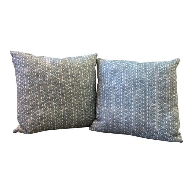 Blue & Cream Diamond Pattern Linen Pillows- a Pair For Sale