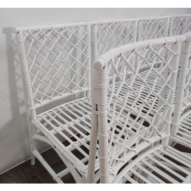 Chippendale Ficks Reed Diamond Patterned Rattan Chairs - Set of 8 For Sale - Image 3 of 6