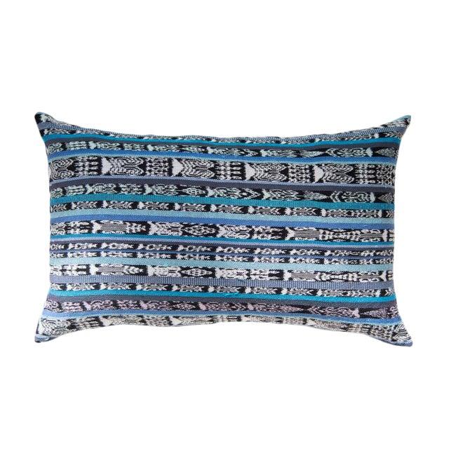 Vintage Guatemalan Cyan Ikat Pillow - Image 1 of 5