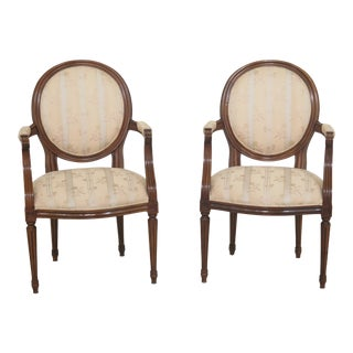 1980s Vintage Baker French Style Medallion Back Open Arm Chairs- A Pair For Sale