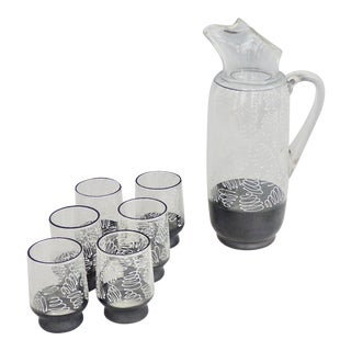 1950s Dunbar Glass Tempo Line Black & White Enameled Pitcher and Glass Set - 7 Pieces For Sale
