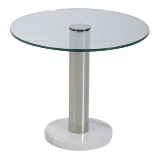 Pace Collection Marble and Chrome Side Table For Sale