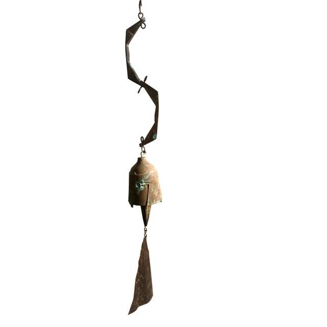 Brutalist Early Paolo Soleri Original Bronze Wind Chime | Brutalist Bronze Soleri Bell | Consanti Geometric Garden Windbell For Sale - Image 3 of 12