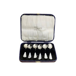 D.1929 Sterling Pearl Handled Spoons, S/6 For Sale