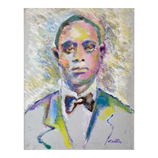 """Ed Ceseña """"King Oliver"""", Large Fauvist Portrait Oil Painting, 1980s For Sale"""