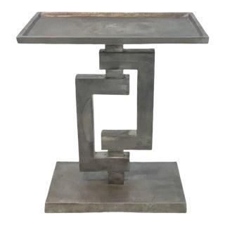 Industrial Aged Metal Arteriors Barnett Side Table For Sale