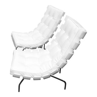 "1990's Scala Luxury ""Rib"" Lounge Chairs With New Leather Cushions- A Pair For Sale"