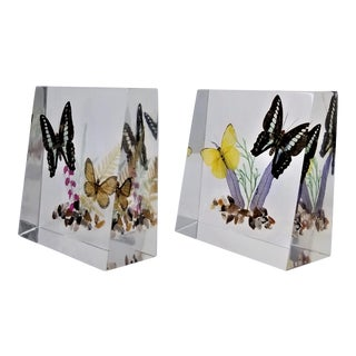 Vintage Chunky Lucite Butterfly Bookends - a Pair -Old New Stock - Mid Century Modern Boho Chic Palm Beach Chic For Sale