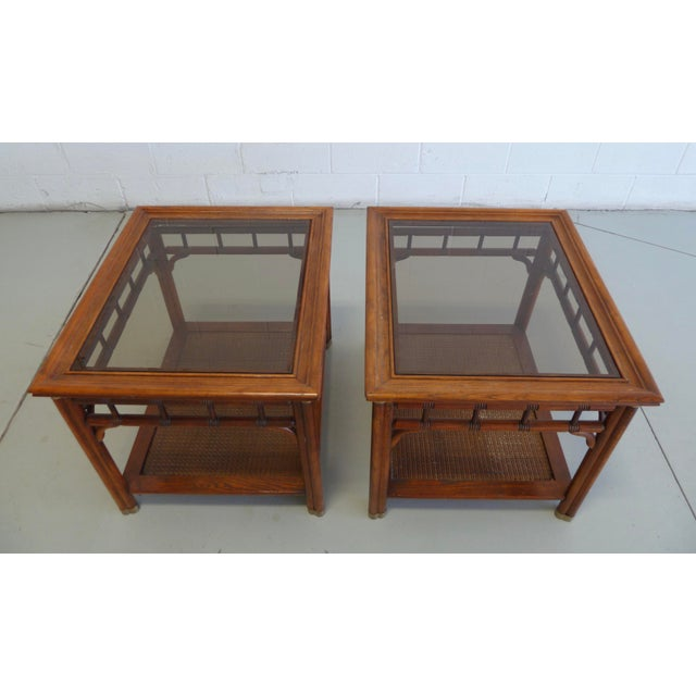 Vintage Faux Bamboo & Cane Regency Side Tables - a Pair For Sale - Image 4 of 12