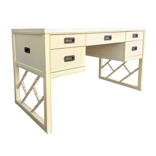 Regency Faux Bamboo Campaign Fretwork Desk by Sligh For Sale