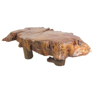 Vintage Rustic Live Edge Coffee Table For Sale