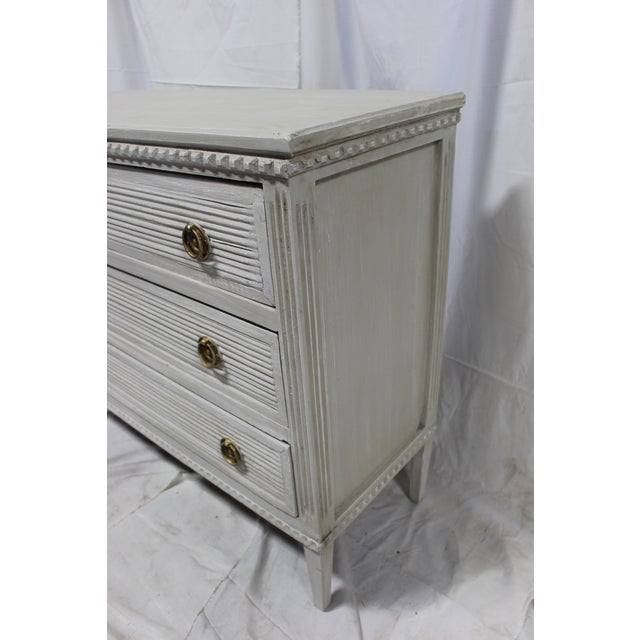 Bronze 20th Century Gustavian Gray Oak Bedside Chests - a Pair For Sale - Image 7 of 9