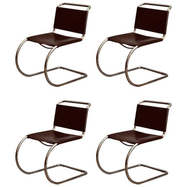 Set of Four Classic Thick Leather and Chrome Mr Chairs by Mies Van Der Rohe For Sale - Image 10 of 10