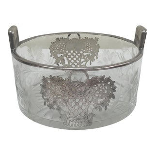 Vintage Silver Overlay Flower Basket Ice Bucket For Sale