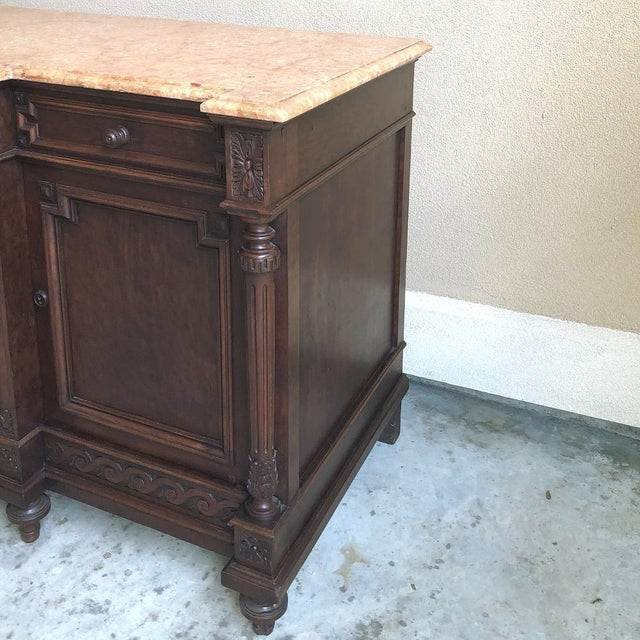 Wood 19th Century French Louis XVI Mueche Mahogany Marble Top Dresser ~ Cabinet For Sale - Image 7 of 13