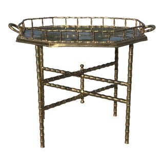 Maison Baguès Faux Bamboo Brass Tray With Folding Table For Sale
