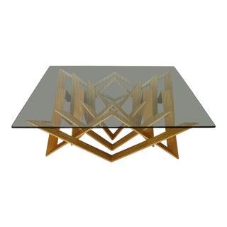 Industrial Vito Selma Futura Oak Glass Top Cocktail Table For Sale