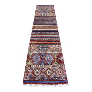 Khorjin Design Runner Red Kazak Geometric Hand Knotted 100% Wool For Sale