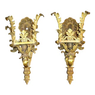 Rococo Cast Brass Wall Sconces - a Pair For Sale